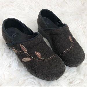 Dansko Brown Wool Flannel Professional Clogs Leaf